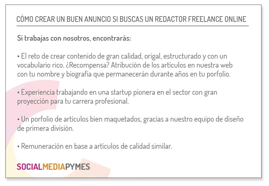 Cómo es el anuncio ideal de un redactor freelance online.