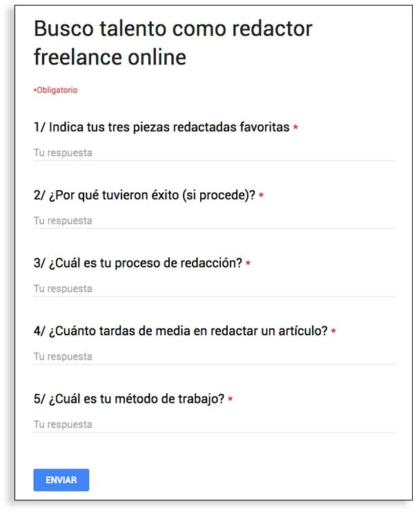 Encuesta para buscar un redactor freelance online.