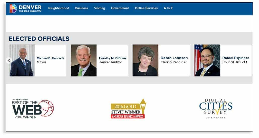 Reconocimientos de la web de la ciudad de Denver y su sistema de gestión de contenidos