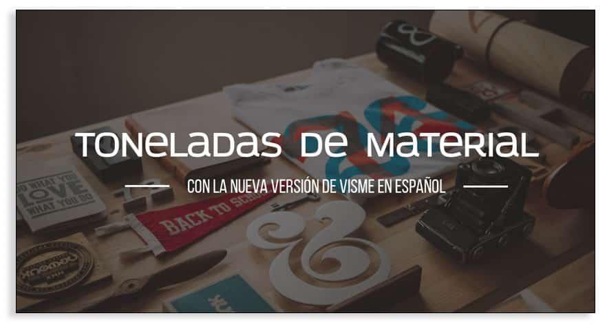 La nueva versión de Visme en español te ofrece mucho material para crear contenido visual.