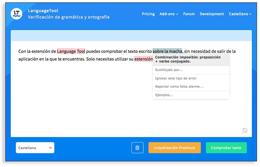 Escribe mejor con el corrector gramatical LanguageTool