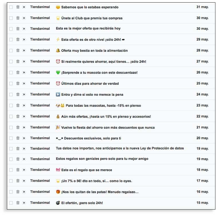 Enviar demasiados correos, mal ejemplo de netiqueta en email marketing