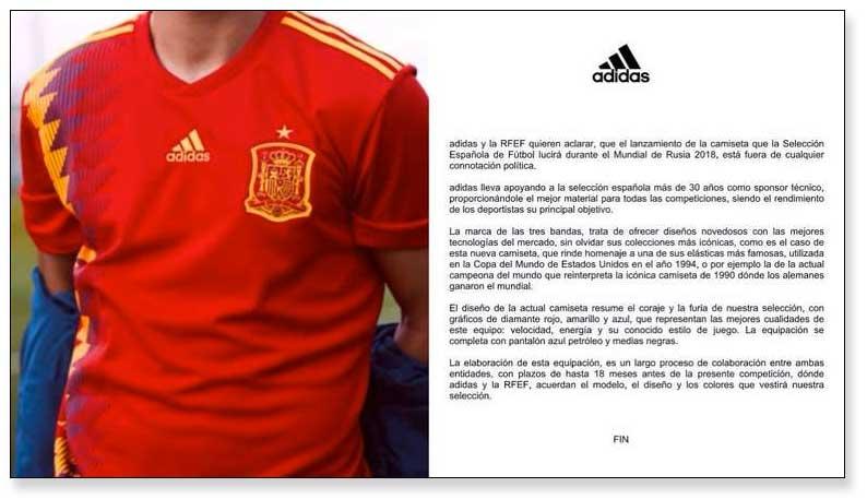 Nota de prensa, ejemplo de la marca Adidas