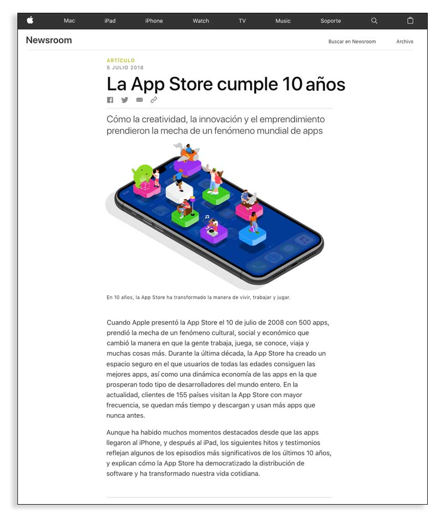 Nota de prensa, ejemplo de la marca Apple