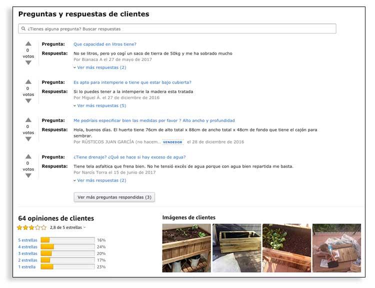 Amazon y los artículos de comparativas de productos