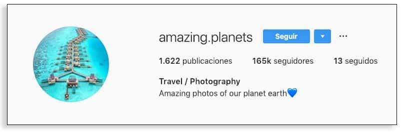Un ejemplo de empresa de bio de Instagram
