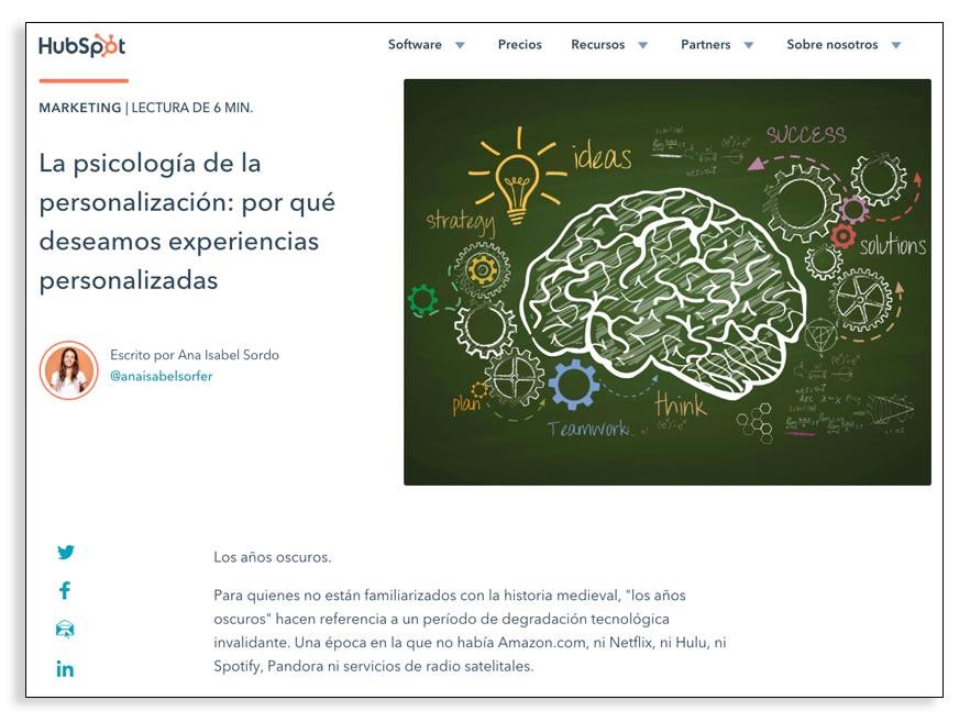 Blog de HubSpot, ejemplos de línea editorial