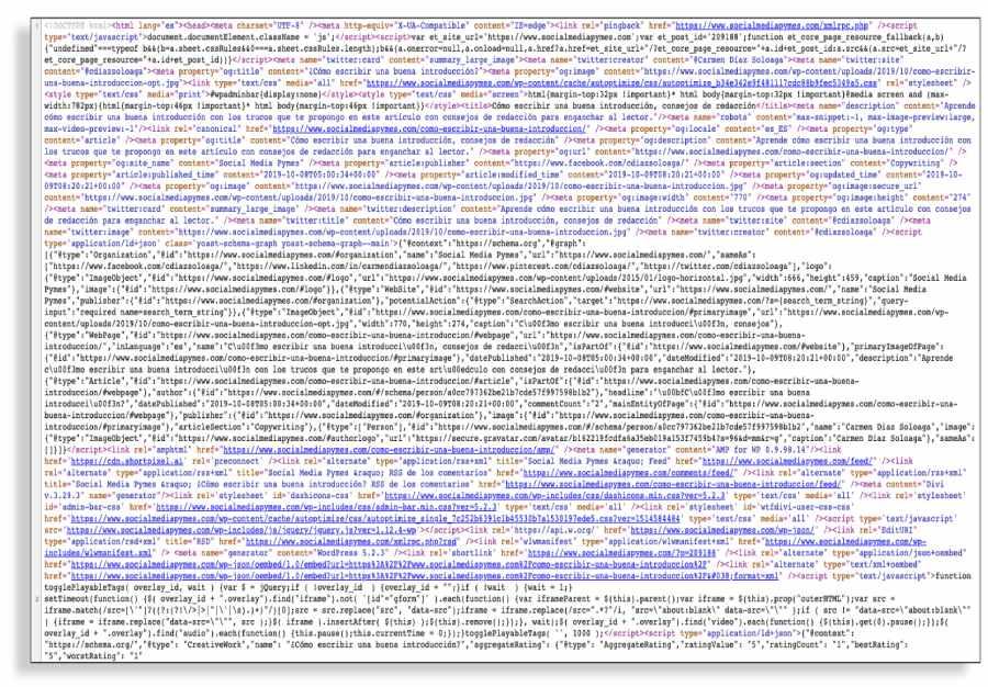 Código fuente de una web, lo que rastrean los motores