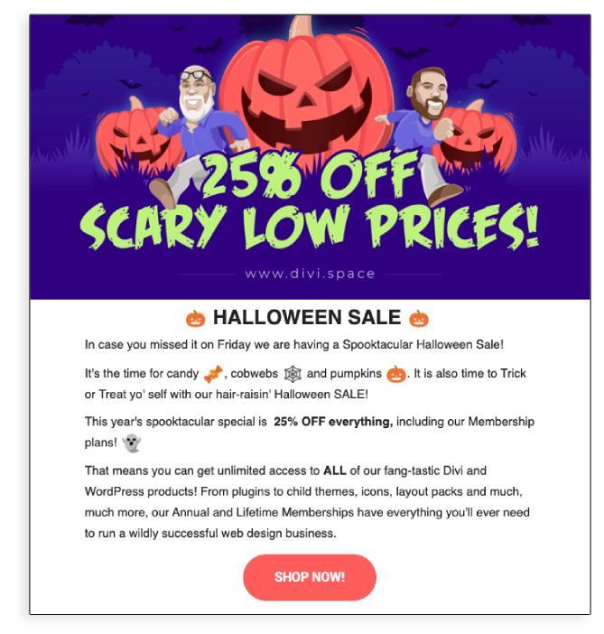 Ejemplo de promoción por correo electrónico