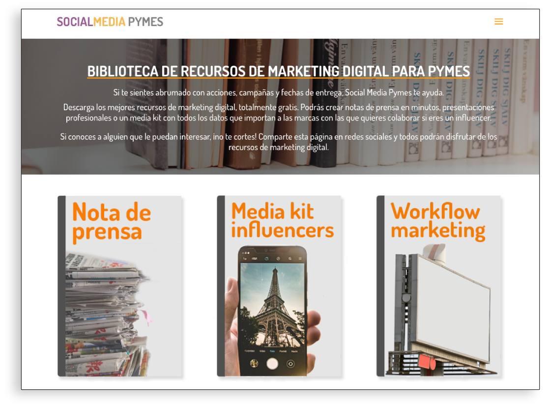 Ejemplo de biblioteca de recursos gratuitos de marketing digital