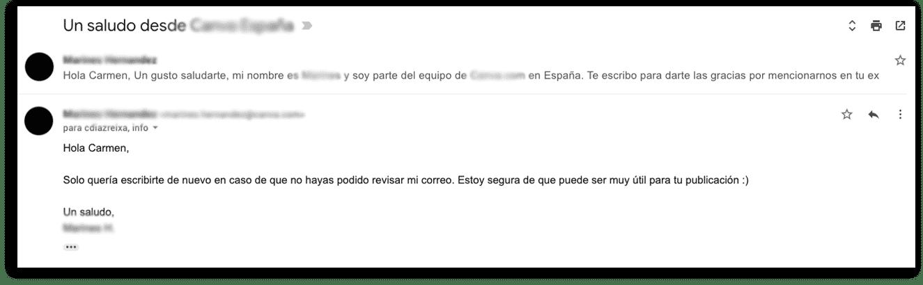 Ejemplo de un correo de seguimiento recibido