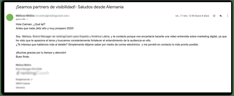 Ejemplo de un correo de contacto con tema