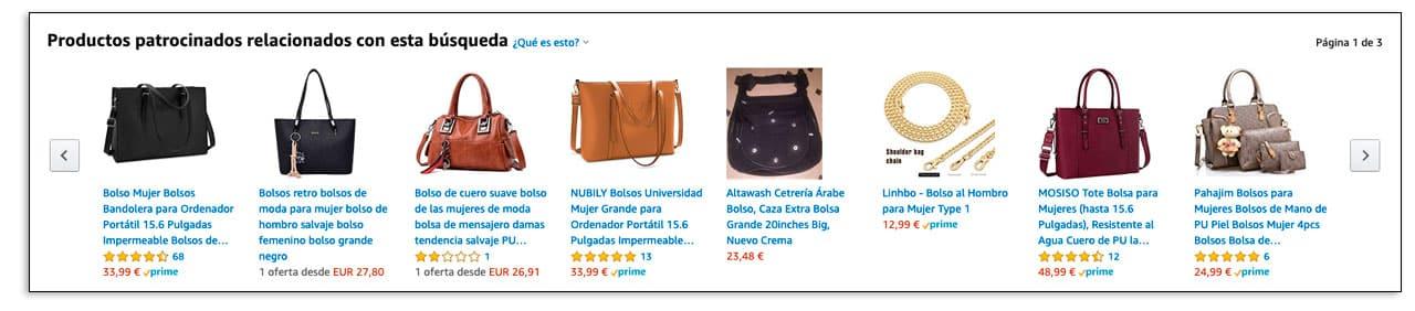 Productos patrocinados en Amazon
