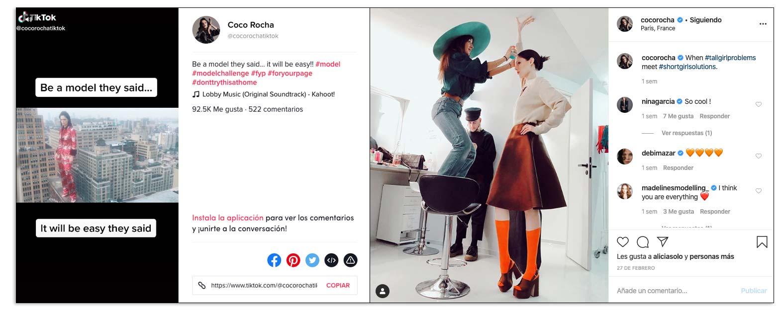 Perfil de Coco Rocha en varias redes sociales