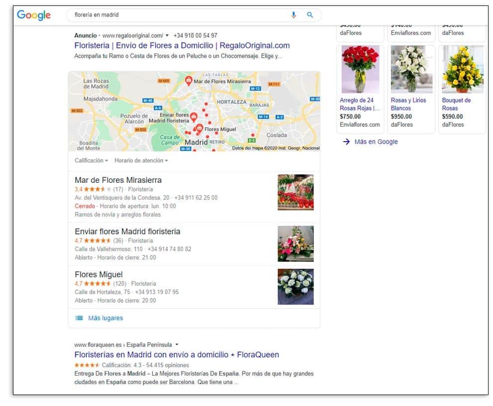 Ficha negocio google floristería