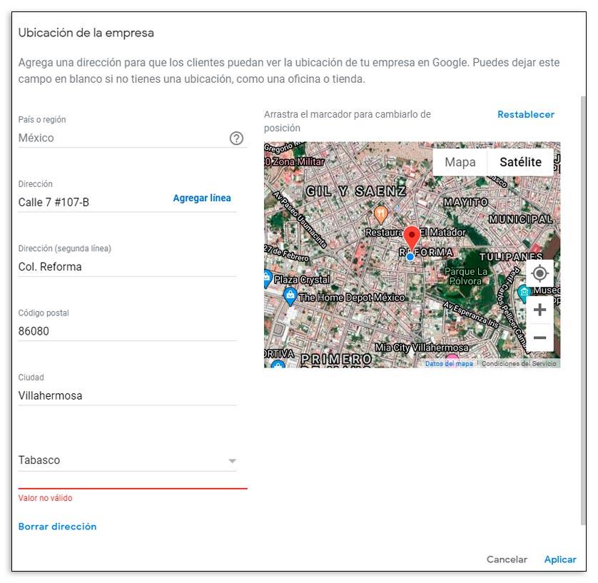 Ficha de ubicación de un negocio