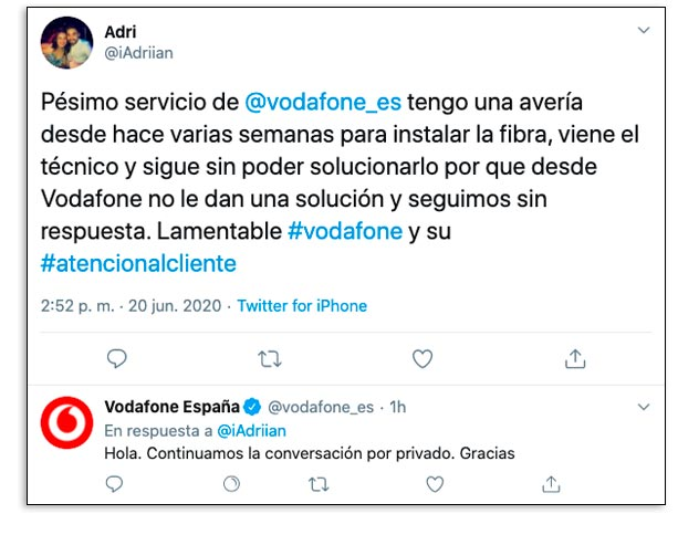 Queja de un cliente de Vodafone