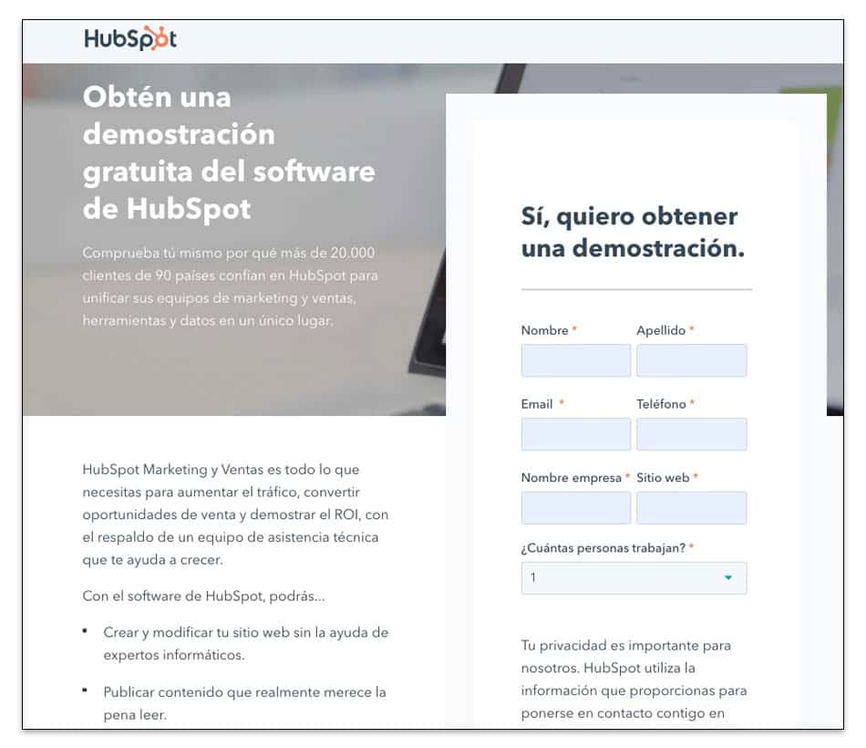 Ejemplo de landing page con lead magnet de Hubspot