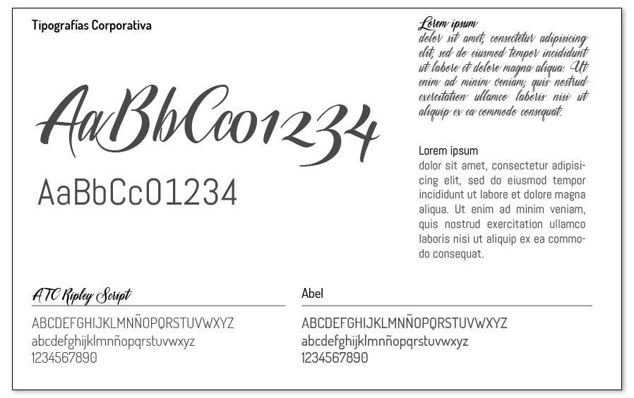 Ejemplo de selección de tipografías