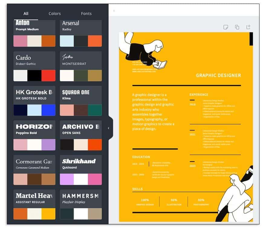 cómo se hace un curriculum en formato digital, cambiar la paleta de color