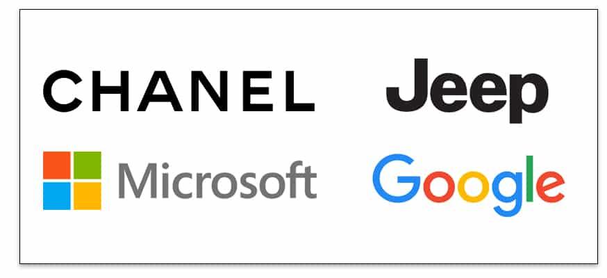 Algunas marcas con fuentes San-serif