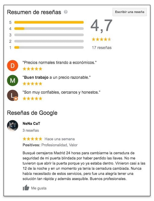 Ejemplo de una reseña de Google My Business honesta