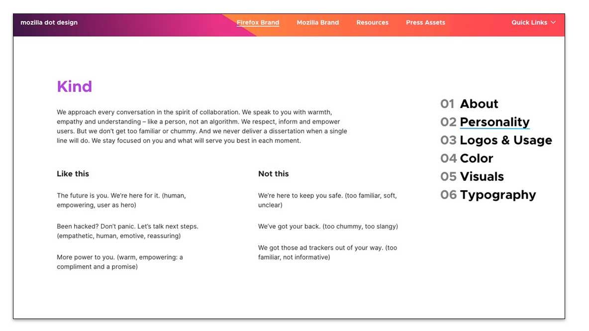 Guía de estilo web de Mozilla Firefox