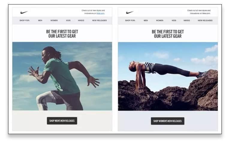 Un correo personalizado de Nike